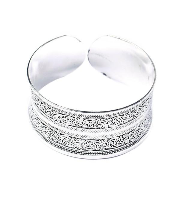 BODYA Classic Tibet Silver Carved Lucky Totem Flower Old Bangle Filled Wide Engrave Cuff Bracelet - C0127CDOLZT