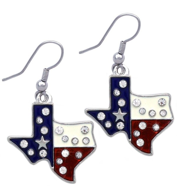 4th of July USA American Flag Patriotic Eagle Texas Donkey Elephant Earrings - Texas Map Silver-tone - CS180KG64RI