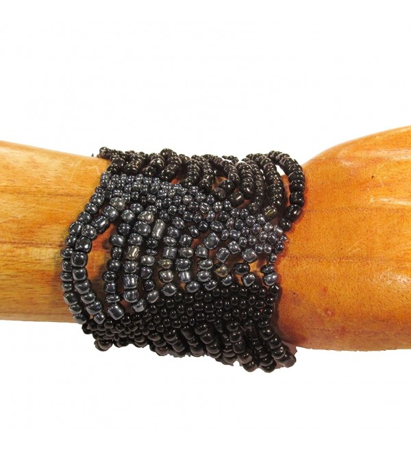 "Bali Bay Trading Company ""Midnight"" Color Inspired Beaded Swag Stretch Multi Strand Handmade Bracelet - CG125UMHTDP"