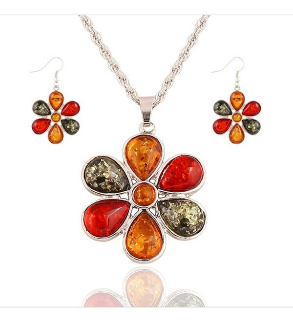 YiYi Operation Artificial Amber Flower Baltic Chain Silver Necklace Earrings Jewelry Sets Women's Wedding - CB12MXKBCLC