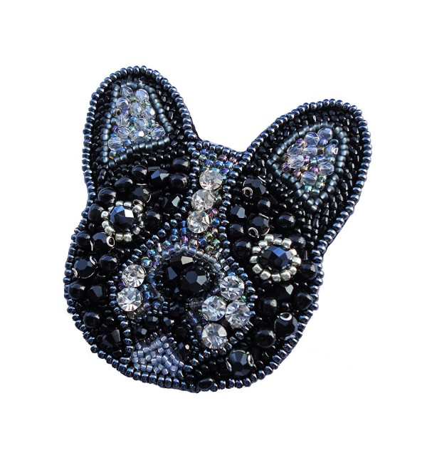 Women's Exclusive Handmade French Bulldog Beaded Brooch - Pin- Medalion- Best Gift - Black - CL187DGCDG2
