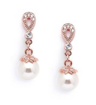 Mariell 14K Rose Gold Plated Vintage Wedding Glass Pearl Drop Clip On Earrings for Brides with CZ - C617Y4U4HW0