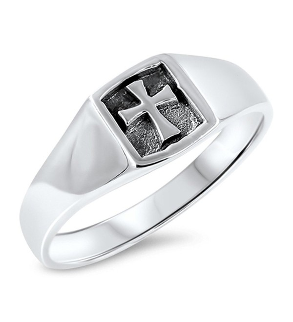 Oxidized Iron Cross Christian Promise Ring .925 Sterling Silver Band Sizes 4-10 - CT184Y7LKE0