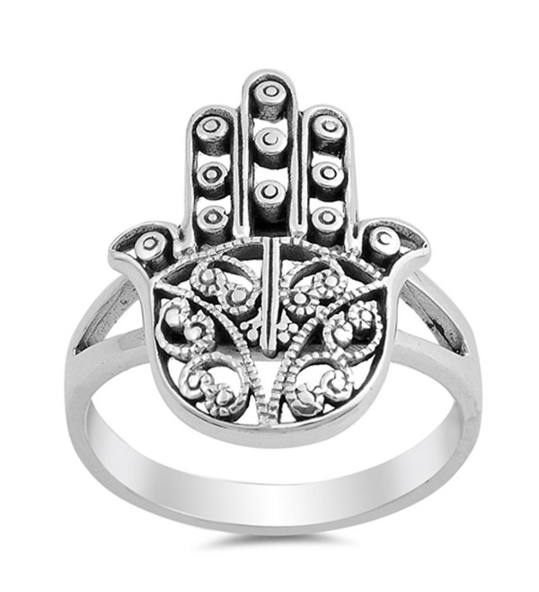 Filigree Hand of God Hamsa Ring New .925 Sterling Silver Heart Band Sizes 5-10 - CF12HBSJN0D