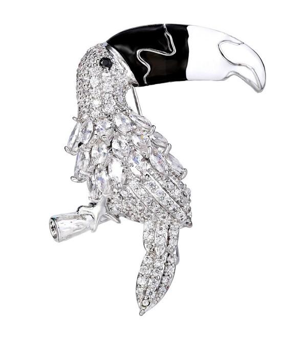 EVER FAITH Women's Cubic Zirconia Enamel Adorable Toucan Bird Animal Brooch Clear - Silver-Tone - CH185EUN786