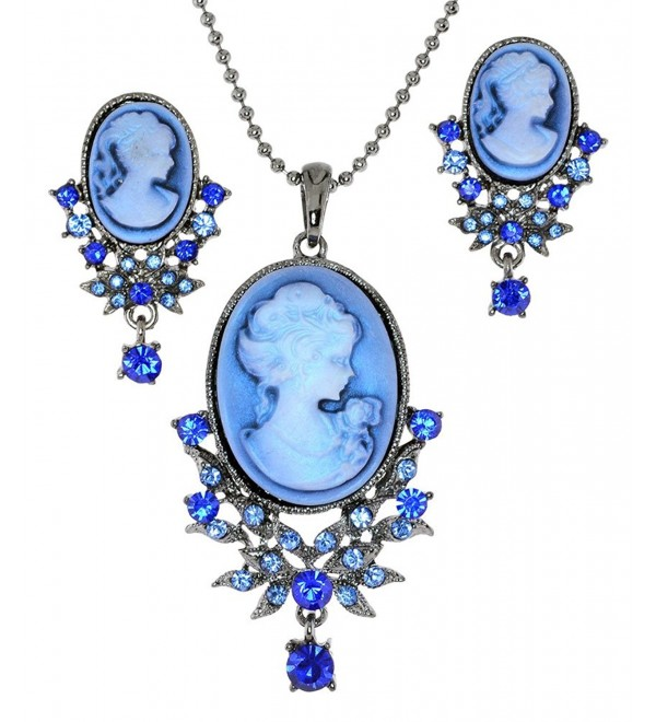 Almost Matching Lady Profile Cameo Simulated Rhinestone Necklace and Post-Back Earing Set - Blue - C211X6WPD8P