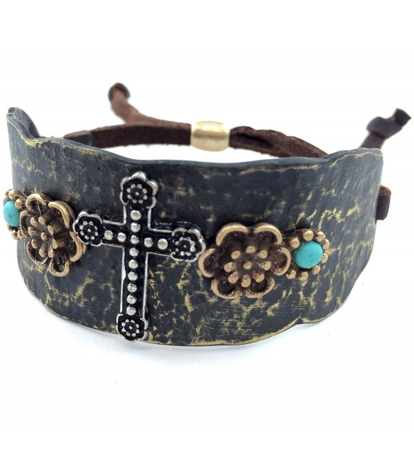 Western Peak Western Copper Rhinestone Hammered Plate Cross Rose Turquoise Brown Leather Cuff Bracelet - CG129E04IQP
