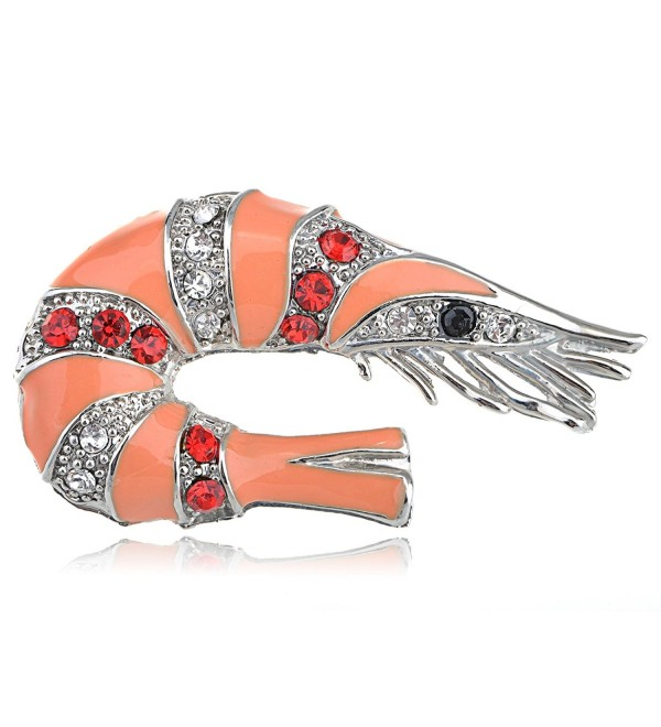 Alilang Silvery Tone Multi Color Rhinestones Peach Shrimp Crawfish Brooch Pin - C2113T2GFQL