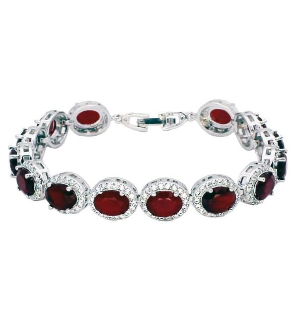Oval Ladies Tennis Bracelet Sapphire Ruby Emerald White Topaz Silver 7 inch - CN12JKNU8XN