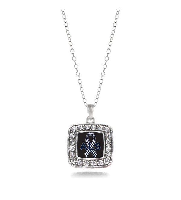 ALS Awareness Classic Silver Plated Square Crystal Necklace. - CJ11KEPG0WP