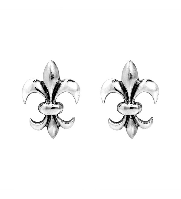 Charming Symmetrical Fleur-de-Lis .925 Sterling Silver Stud Earrings - CZ11GFPPXIF
