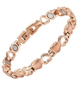 Womens Love Heart Titanium Magnetic Therapy Bracelet Size Adjusting Tool and Gift Box Included By Willis Judd - CK11QUCPCFH