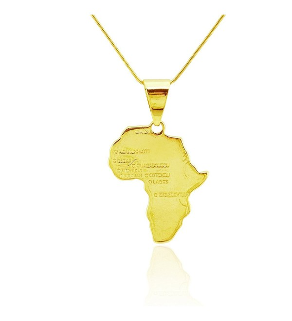 Passage 7 18K Real Gold Plated Map Of African Pendant Necklace USA Made - C212F4QG2KX