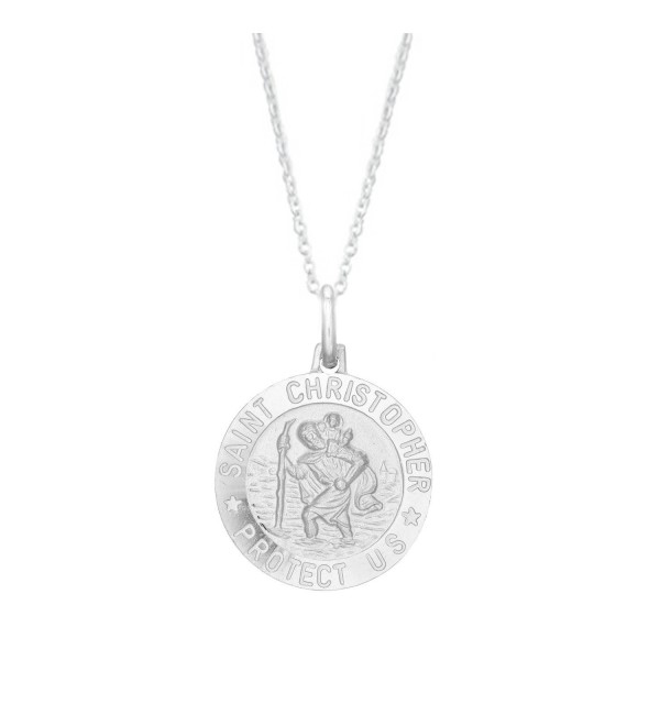 Sterling Silver Saint St Christopher Round Medal Pendant Necklace (12mm- 15mm-19mm and 24mm) - CW11FP7FR8P