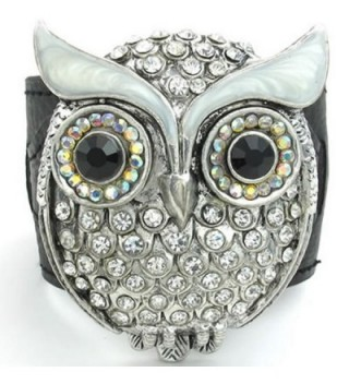 KONOV Womens Crystal Leather Bracelet- OWL Cuff Bangle- White Black - CB11JP2HVCL