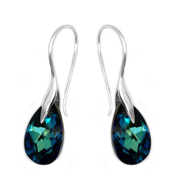 Sterling Silver 925 Blue Green Made with Swarovski Crystals Drop Hook Casual Earrings - CJ11J39XPDZ