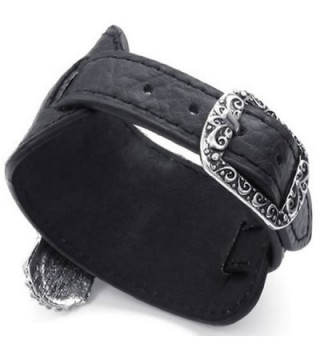 KONOV Womens Crystal Leather Bracelet