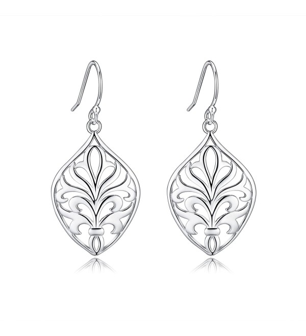 Highly Polished Sterling Silver Filigree Dangle Drop Earrings-Just Launched - CH17WYNMAZD