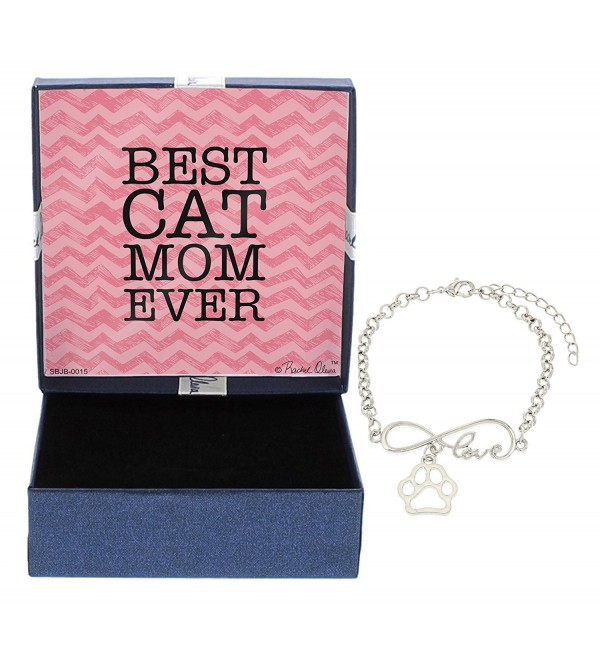 Best Cat Mom Ever Bracelet Silver-Tone Love Pawprint Charm Chain Bracelet Jewelry Box - CY12NH08F5J