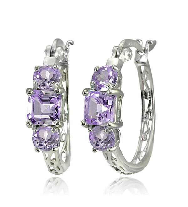 Sterling Silver Gemstone Three-Stone Filigree Hoop Earrings - Amethyst - CF186EE2HR3