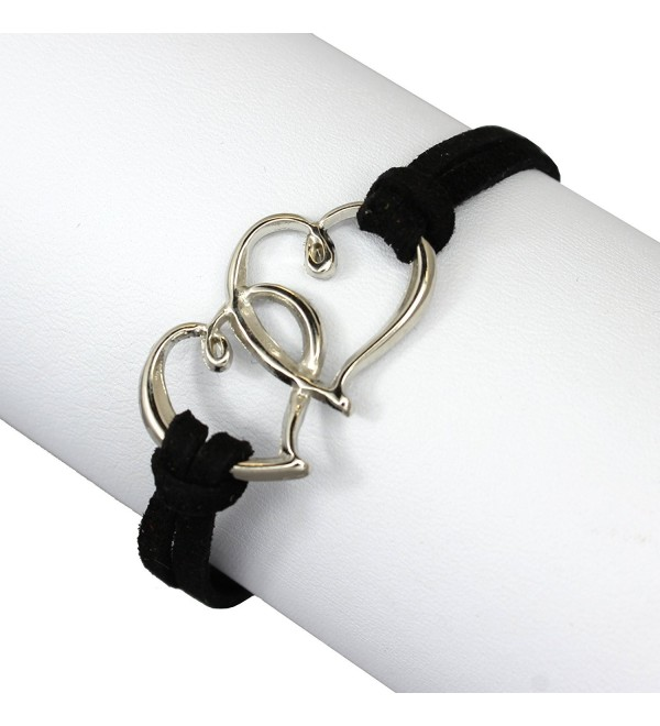 Zinc & Suede Leather Linked Hearts Double Strand Wrap Bracelet- fashion Jewelry for Women & Girls - Black - CD11LSHQ3ED