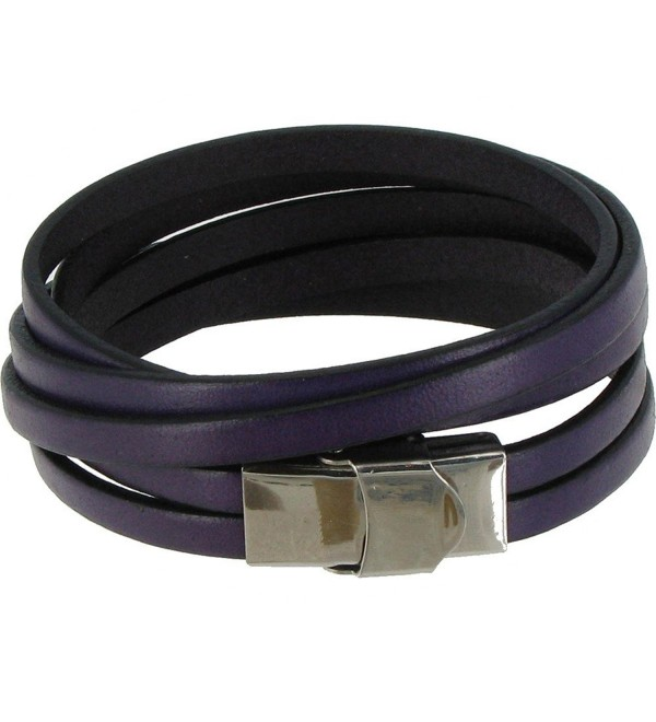 Les Poulettes Jewels - Bracelet Leather Triple Turn with Stainless Steel Clasp - Colors - Purple - CN11JXCLL8D