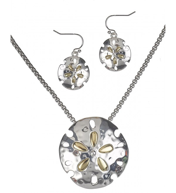Two Tone Hammered Sand Dollar Necklace Magnetic Pendant Earrings & Popcorn Chain By Jewelry Nexus - C711REFQA7H