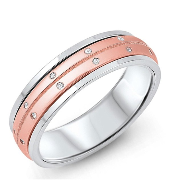 Sterling Silver Rose & Silver Two Tone CZ Set Spinner Ring 6MM ( Size 5 to 12 ) - C912LXFQELB