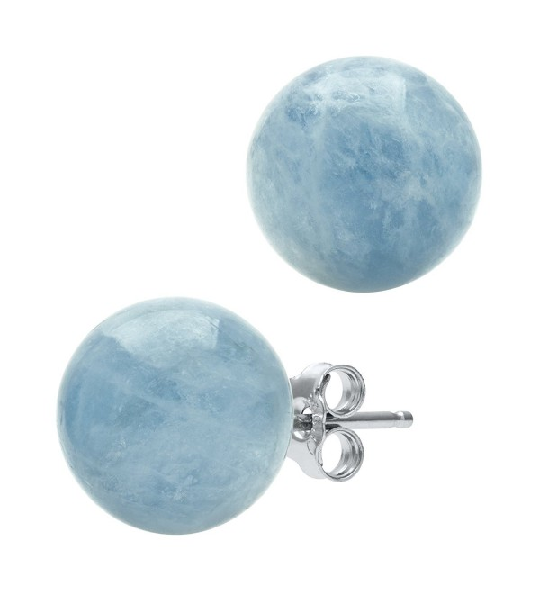Sterling Silver Natural Milky Aquamarine Gemstone Round Blue Unisex Stud Earrings - CW1163W1XPH