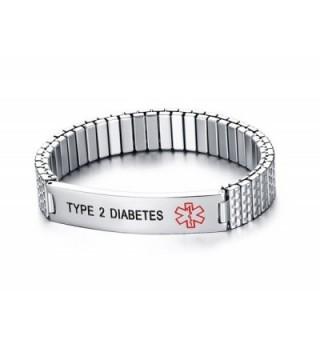 Black Deep Engrave Unisex Stainless Steel Medical Alert ID Bracelets for Men Women - CC17YGN9U5R
