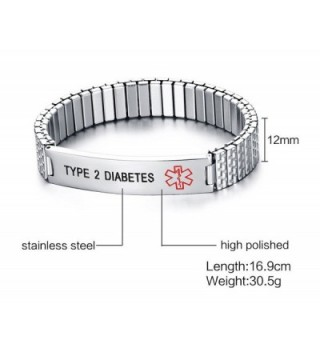 DIABETES Stainless Medical Wristband Bracelet
