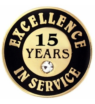 PinMart's Gold Excellence in Service Enamel Lapel Pin w/ Rhinestone - 15 Years - CP11Q3SUETR
