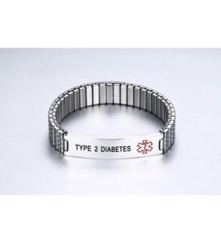 DIABETES Stainless Medical Wristband Bracelet in Women's ID Bracelets