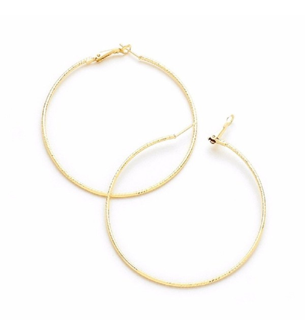 14k Gold Plated Hoop Textured Earrings (70mm) - CV12NZ0SXMY