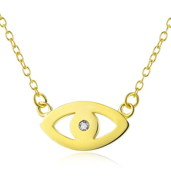 Evil Eye Pendant Necklace | 925 Sterling Silver - yellow-gold-flashed - CS182GGXW3L
