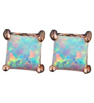 Easthors Women's Fire Opal Stud Rose Gold Earrings for Women Ladies Her Wedding Engagement - CS1858R3EY3