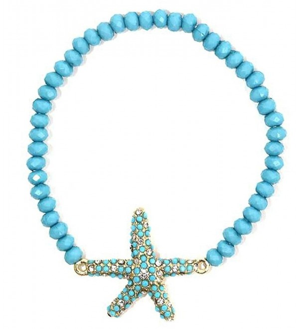 Heirloom Finds Light Blue Beaded Pave Starfish Beach Bracelet - CL11CZHN6NV