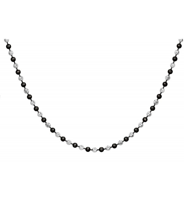 Sterling SilverBlack Rhodium Plated Plated 2.5 mm Two-Tone Ball Necklace - CT12KBW0KJT
