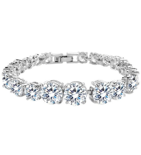 EVER FAITH Silver-Tone Clear Round Prong CZ Bridal Tennis Bracelet - C111JNV5FIV