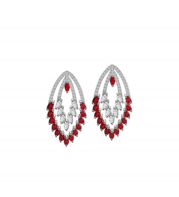 OKIKO Earrings Swarovski Platinum Plated Chandelier - Teardrop-Red - CI180M20T0D