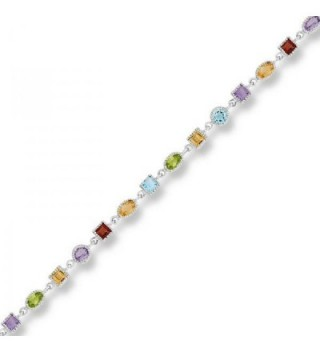"Sterling Silver 925 Multi Colored Genuine Gemstone Womens Bracelet 7"" - The Royal Gift - C7119IIE0CV"
