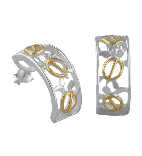 Sterling Silver with 14kt Yellow Gold Plated Accents Turtle Filigree Half Hoop Earrings - CQ113AC366V