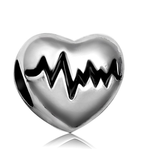 JMQJewelry Heart Love Electrocardiogram Christmas Heartbeat Charms For Bracelets - C318256M2U6
