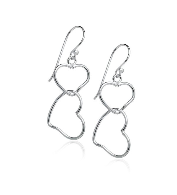 Sterling Silver Interlocking Double Heart Dangle Hook Earrings For Women Teens & Girls - Nine2Five - C712MZ1IY51