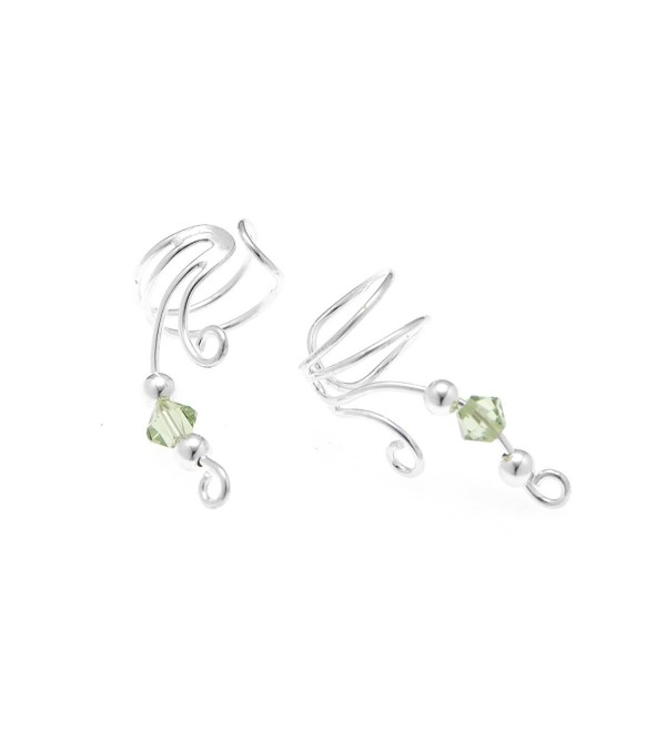 "925 Sterling Silver Beautiful Wire Earcuff Crystal Bead Earrings 1"" - Nickel Free - CH11M2CLFD7"