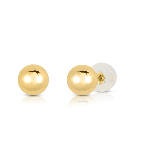 14k Yellow Gold Ball Stud Earrings with Silicone covered Gold Pushbacks - CH12B71AB4B
