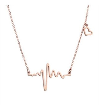 ELBLUVF 18k Rose Gold Plated Stainless steel EKG Heartbeat Love Cardiogram Necklace Jewelry for women - Rose gold - CZ11KFFVMTF