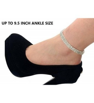 Enriko 3 Row Bridal Princess Stretch Sparkling Crystal Clear CZ Rhinestones Diamond Ankle Bracelet Anklet - CV12DDDRYL5