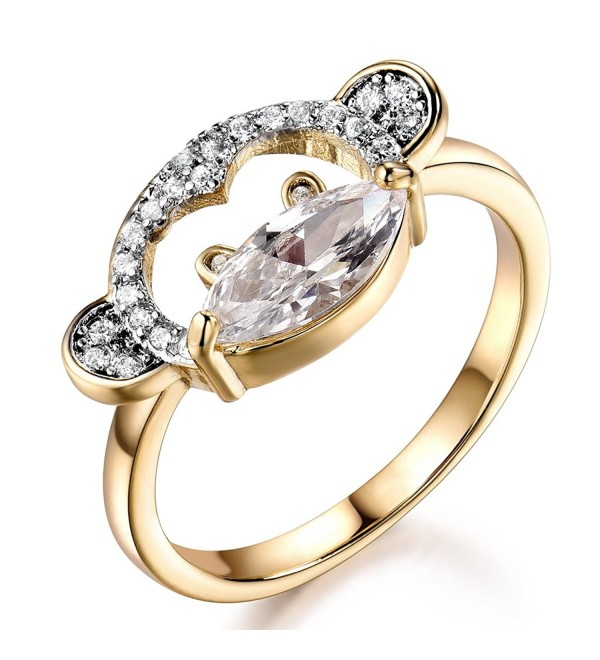 GULICX Clear Marquise Shape Cubic Zirconia Cute Womens Girls Monkey Animal Ring with Yellow Gold-Tone Band - C7182XMY4AX