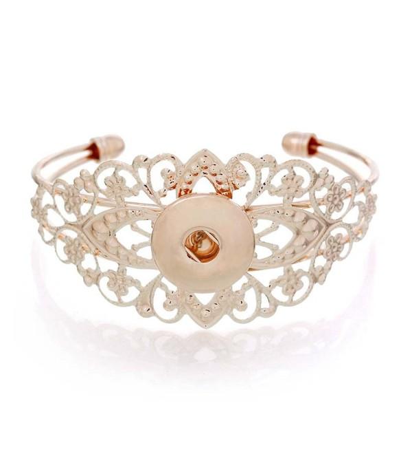 Souarts Rose Gold Round Cuff Bracelet Fit DIY Snap Button 21cm Pack of 2pcs - CV1227IRPYN